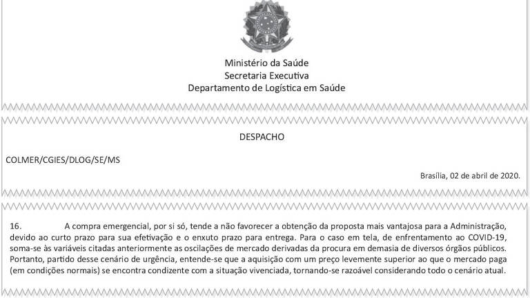 Documento interno do Ministério da Saúde, que balizou compra de máscaras KN95, justifica aquisição com valor acima do mercado