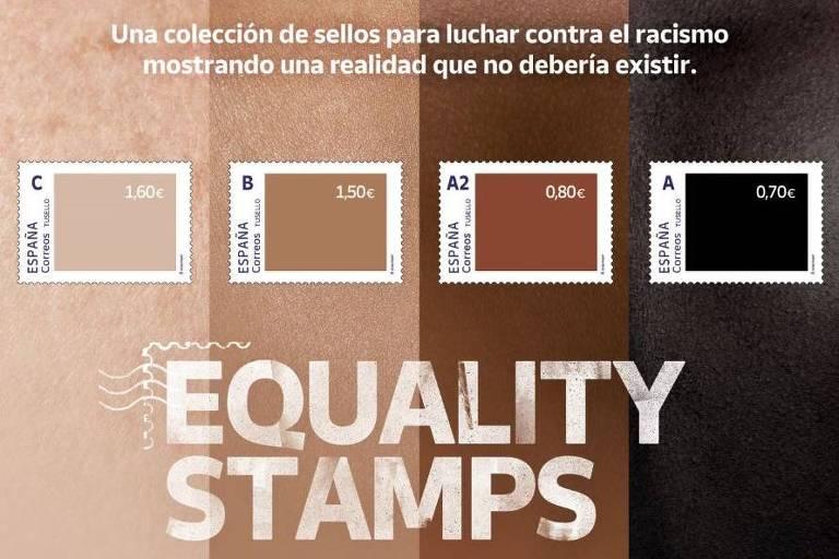 Contra o racismo, Correio espanhol lança selos acusados de racismo