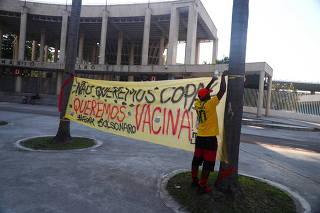 Banner outside the Maracana stadium in Rio de Janeiro