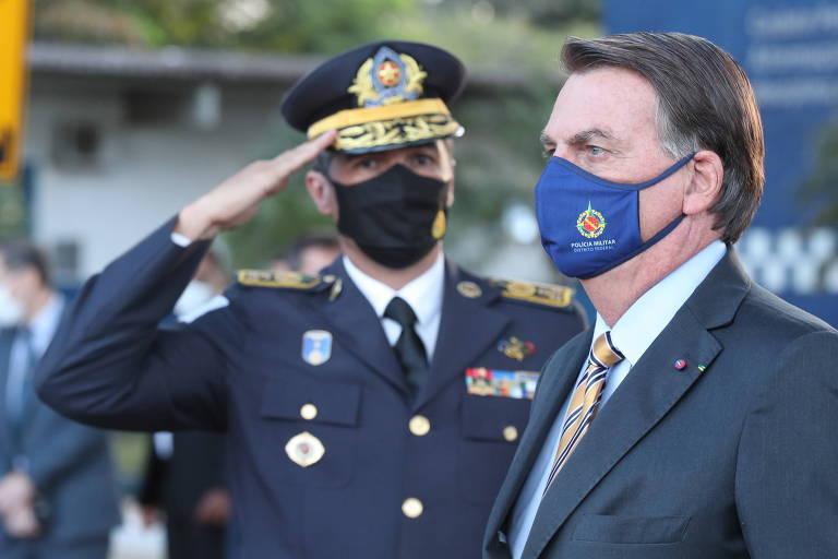 O presidente Jair Bolsonaro participa nesta quarta-feira (2) de formatura da Polícia Militar do DF