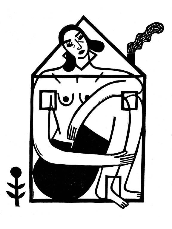 ilustração de mulher com corpo grande demais para a casa