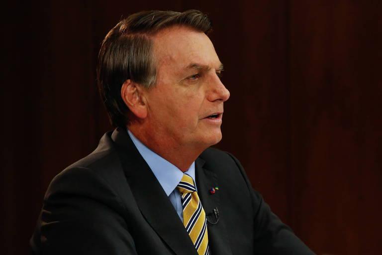 O presidente Jair Bolsonaro durante pronunciamento