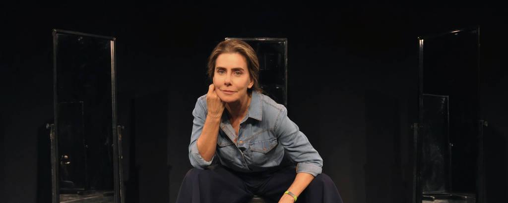 A atriz Maitê Proença no Teatro PetraGold, no Rio