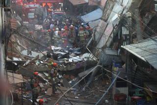 Collapsed building in Rio das Pedras slum, Rio de Janeiro