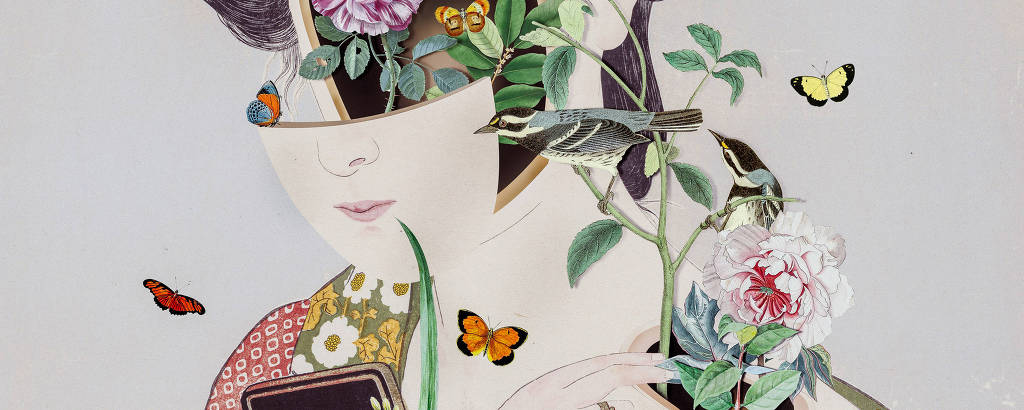 gueixa com flores saindo de dentro do corpo