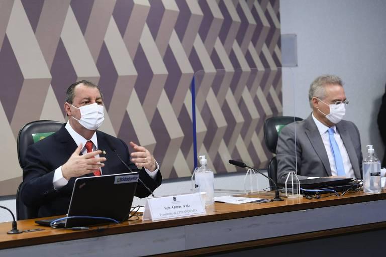 presidente da CPIPANDEMIA, senador Omar Aziz (PSD-AM); relator da CPIPANDEMIA, senador Renan Calheiros (MDB-AL).