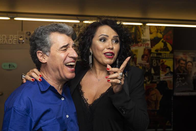 Paulo Betti com a mulher, Dadá Coelho, no Petra Belas Artes em São Paulo