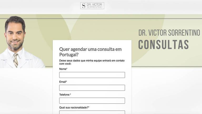 Site do médico brasileiro Victor Sorrentino disponibilizava página para agendamento de consultas em Portugal