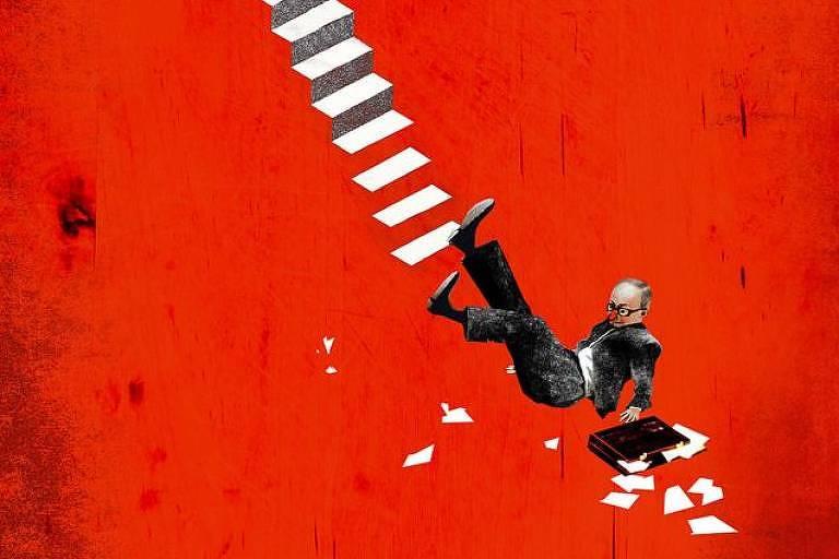 Ilustração de homem caindo da escada