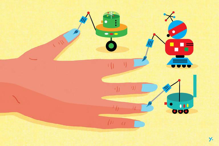 Ilustração mostra robôs fazendo serviço de manicure em um mão