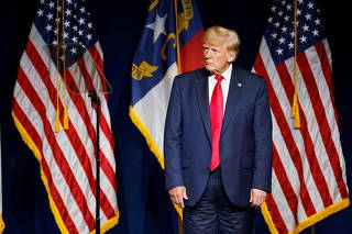 Former U.S. President Donald Trump at the North Carolina GOP convention dinner in Greenville