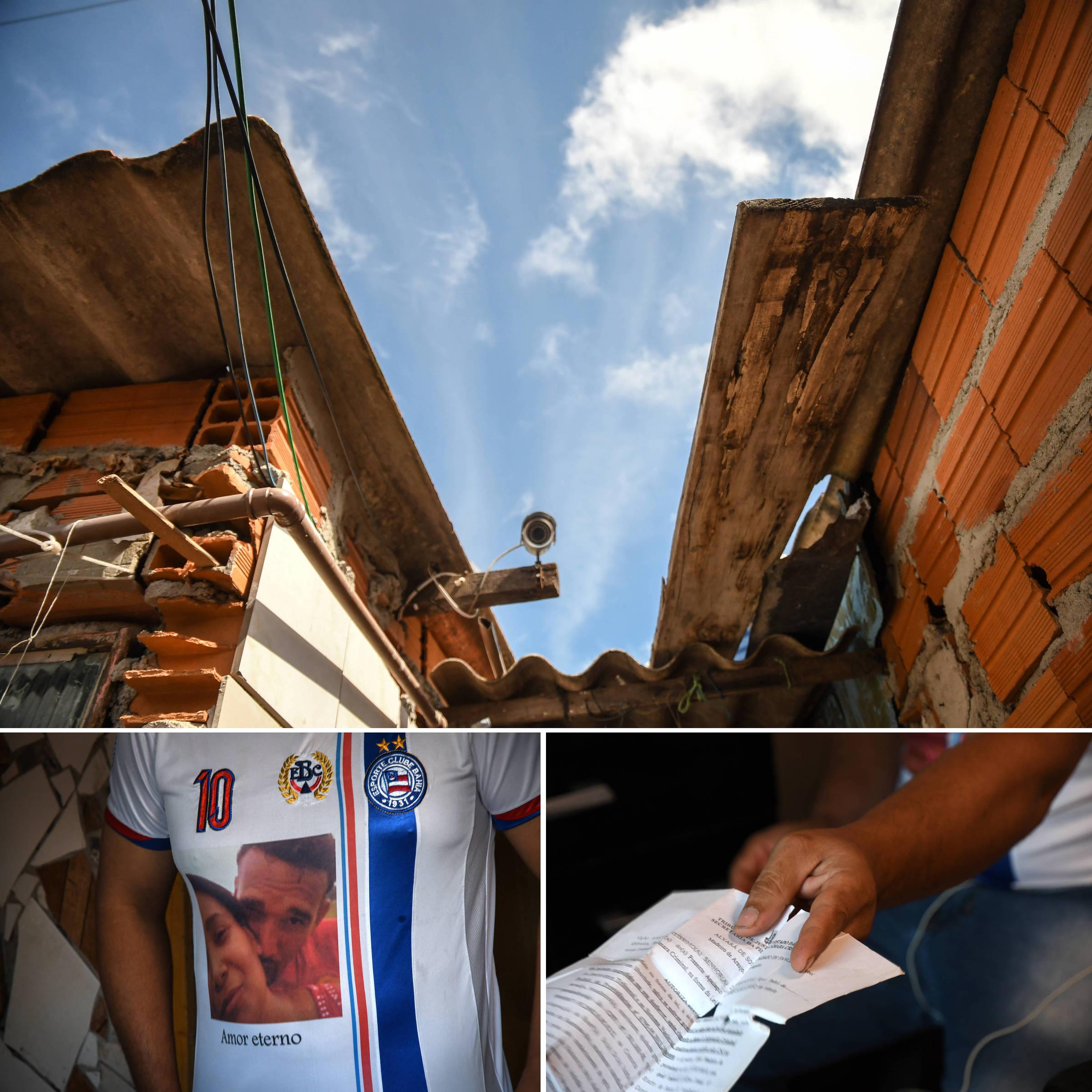 Aldeci Madeiro em sua casa, em Mogi das Cruzes; no detalhe, o alvará de soltura com o qual passou a andar após a prisão