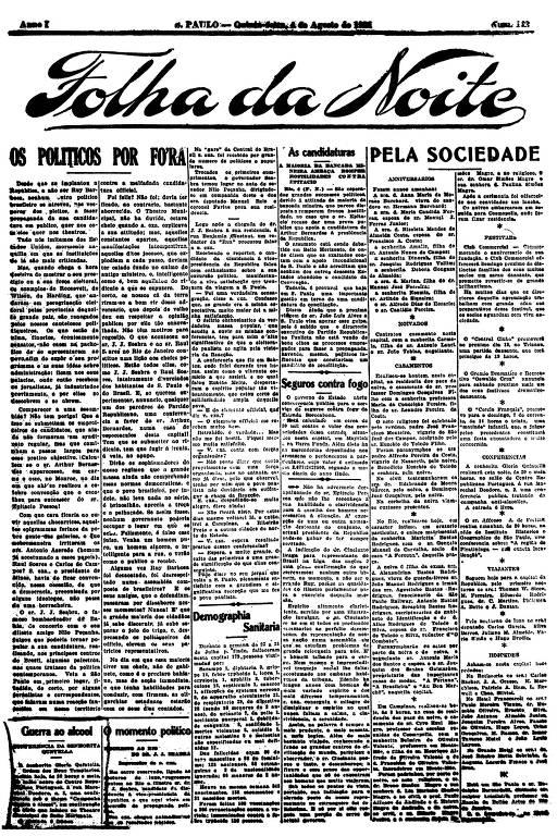 Primeira Página da Folha da Noite de 4 de agosto de 1921