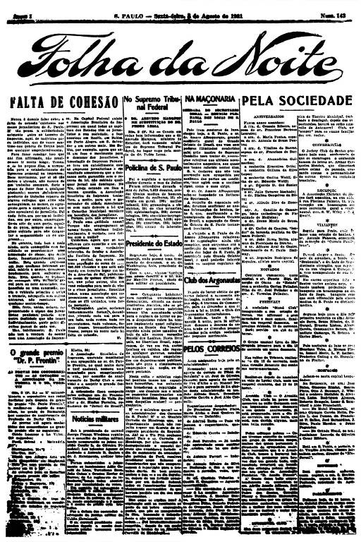 Primeira Página da Folha da Noite de 5 de agosto de 1921