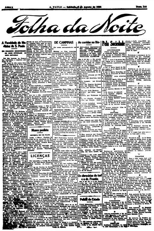 Primeira Página da Folha da Noite de 6 de agosto de 1921