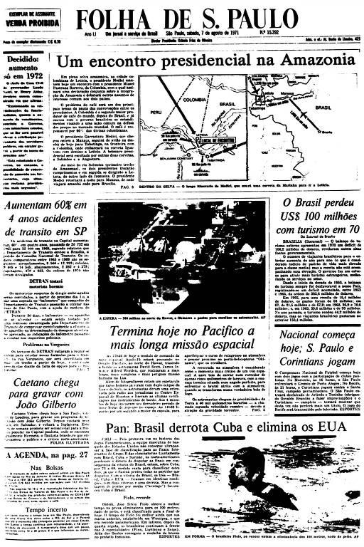 Primeira Página da Folha de 7 de agosto de 1971