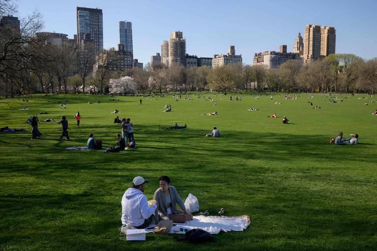 O Central Park, em Nova York, em abril de 2021
