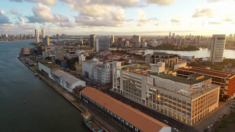 A área bairro Recife, na capital pernambucana, em imagem que já acrescenta o novo empreendimento na paisagem