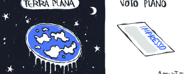 Charge em duas cenas. Na primeira, sob o titulo terra plana, uma imagem do planeta achatado. Na segunda cena, sob o titulo voto plano, a imagem de um cédula de votação impressa.