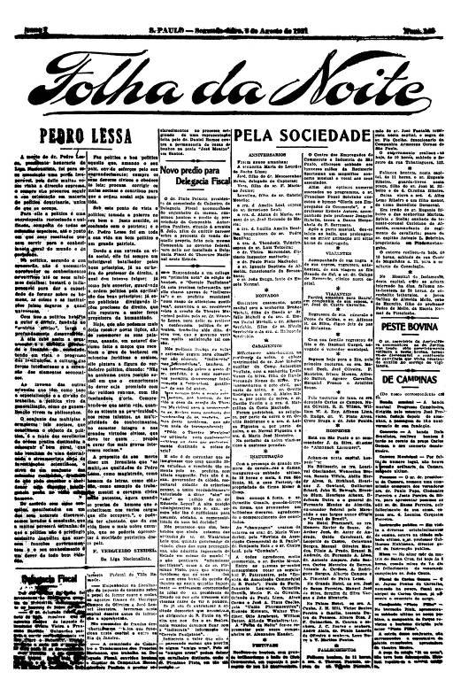 Primeira Página da Folha da Noite de 8 de agosto de 1921