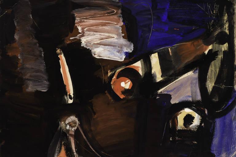 Pintura abstrata com cores escuras