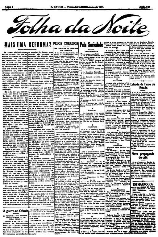 Primeira Página da Folha da Noite de 9 de agosto de 1921