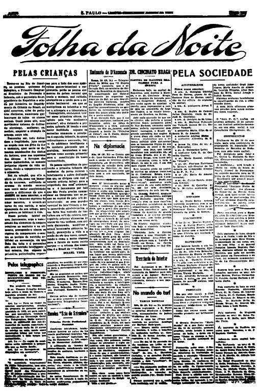 Primeira Página da Folha da Noite de 10 de agosto de 1921