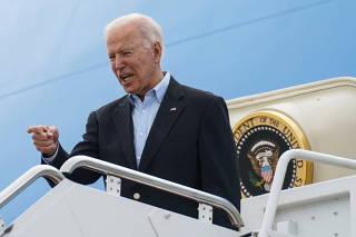 U.S. President Biden departs Washington on travel to England from Joint Base Andrews, Maryland