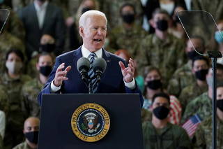 U.S. President Biden delivers remarks to U.S. Air Force personnel at RAF Mildenhall