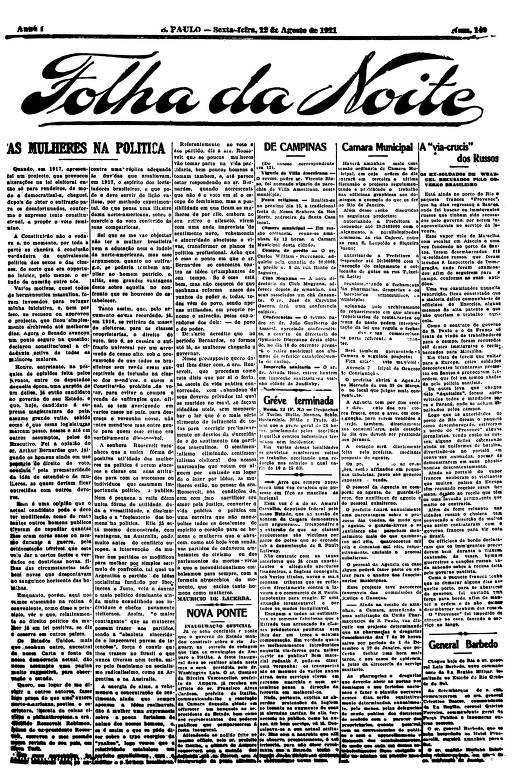 Primeira Página da Folha da Noite de 12 de agosto de 1921