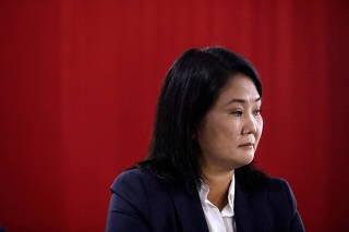 Peru's presidential candidate Keiko Fujimori addresses the media in Lima
