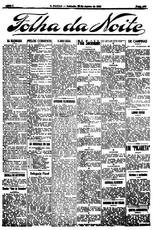 Primeira Página da Folha da Noite de 13 de agosto de 1921