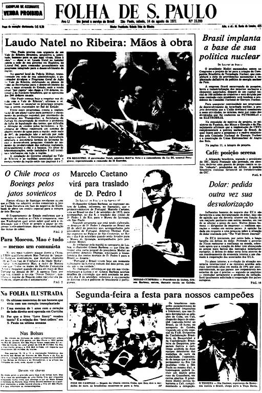 Primeira Página da Folha de 14 de agosto de 1971