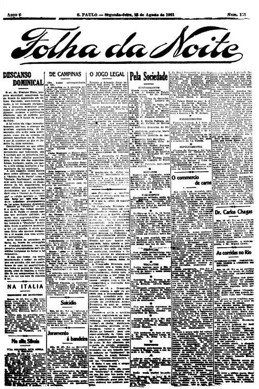 Primeira Página da Folha da Noite de 15 de agosto de 1921