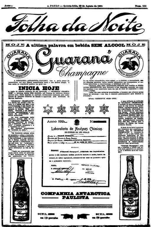 Primeira Página da Folha da Noite de 18 de agosto de 1921