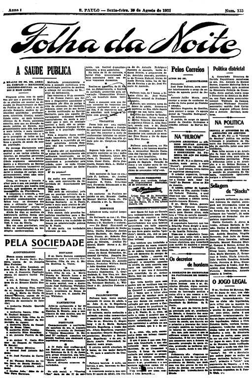 Primeira Página da Folha da Noite de 19 de agosto de 1921