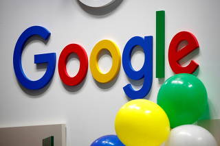 FILE PHOTO: FILE PHOTO: Logo of Google is seen at VivaTech fair in Paris