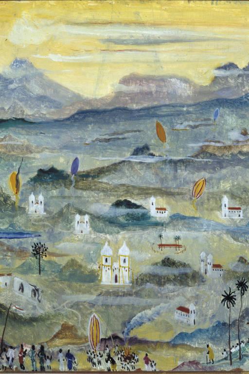pintura na qual dominam o azul e o amarelo, que está no ceu. no centro, uma igreja colonial cercada por distantes casas de mesmo estilo e alguns balões que sobem; no primeiro plano e abaixo, pequenas pessoas se reunem para soltar um balão
