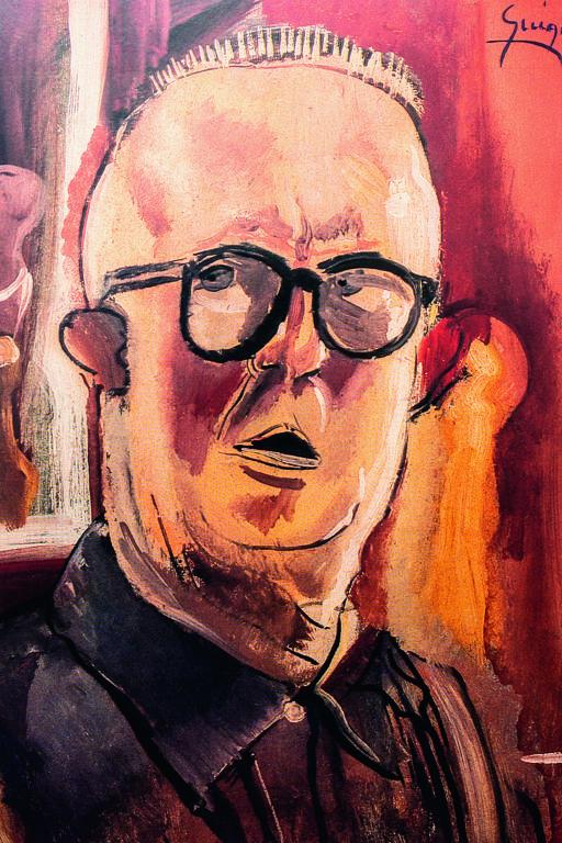 pintura de homem com labio leporino de óculos