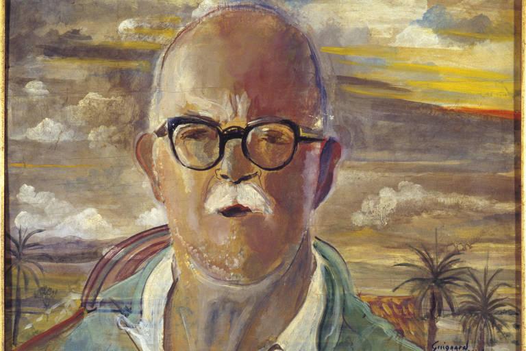 Pintura quadrada em que se vê coqueiros e sol ao fundo e à frente plano americano de homem careca de bigode branco e óculos