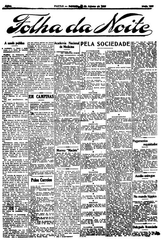 Primeira Página da Folha da Noite de 20 de agosto de 1921
