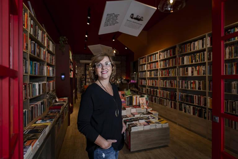 Monica Carvalho, dona da Livraria da Tarde, localizada em Pinheiros, na zona oeste da capital paulista