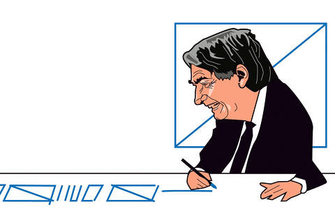 ilustração de carvall publicada na coluna ombudsman do dia 13 de junho de 2021. Nela o presidente Bolsonaro esta sentando atrás de uma mesa, que rabisca a mesa com a mãe direita.