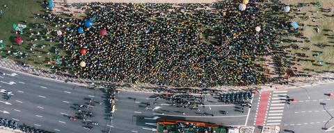 São Paulo, SP, Brasil, 12-06-2021:Manifestação a favor de Bolsonaro no Parque Ibirapuera. (foto Gabriel Cabral/Folhapress)