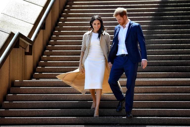 Meghan Markle e príncipe Harry em foto de 2018, em Sydney, na Austrália