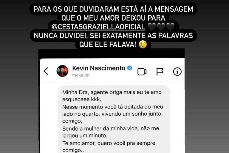 Stories de Deolane Bezerra, viúva de MC Kevin, onde rebate críticas sobre veracidade de carta deixada pelo funkeiro