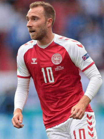 Denmark's midfielder Christian Eriksen stands on the pitch during the UEFA EURO 2020 Group B football match between Denmark and Finland at the Parken Stadium in Copenhagen on June 12, 2021. (Photo by HANNAH MCKAY / POOL / AFP)