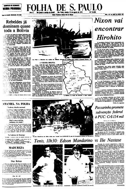 Primeira Página da Folha de 21 de agosto de 1971