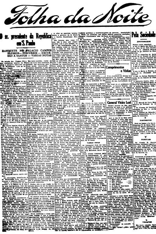 Primeira Página da Folha da Noite de 22 de agosto de 1921