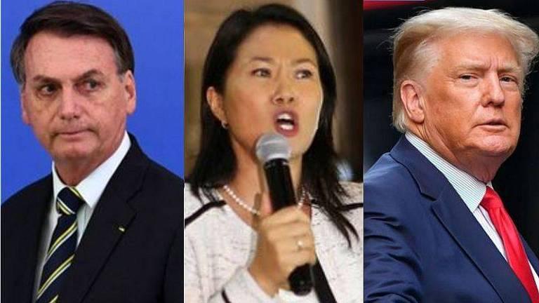 O presidente Jair Bolsonaro, a candidata à presidência do Peru Keiko Fujimori, e o ex-presidente americano Donald Trump, denunciaram supostas fraudes nas urnas durante as eleições presidenciais de seus respectivos países entre 2016 e 2021